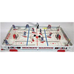1963 Hockey master table top hockey game. Munroe Canada, Montreal & Toronto players, referee, 2 puck