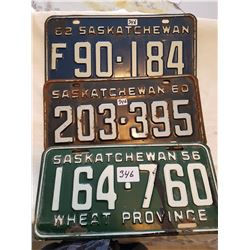 License plate 1956, 1960, 1962