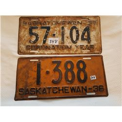 License plate 1936, 1937