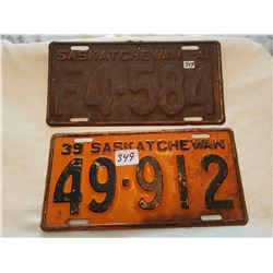 License plate 1939, 1941