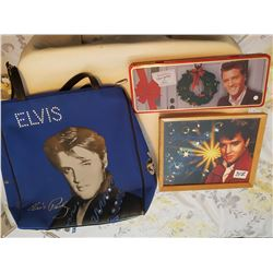 Elvis memrobilia, picture and bag