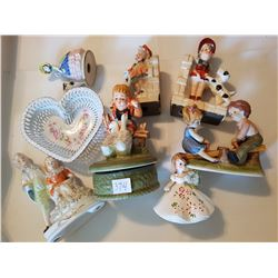 figurines, bookends, dish lot