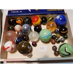 very rare marbles in white owl cigar box