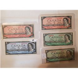 1954 1$, 2$, 5$ all different