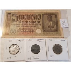 WW2 German banknote and coins