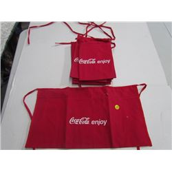 Lot of 7 Coke Aprons red small writing