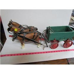 Horse And Wagon-Hand Cut Harness and Handmade Wagon