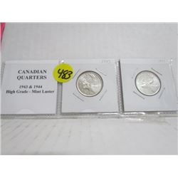 1943 and 1944  Canadian Quarters High Grade MINT LUSTER