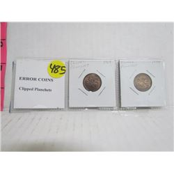 Error Coins 1 cent Clipped Planchets (2)