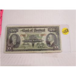 1938 Bank Of Montreal $20 Bill Serial # 17662