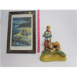 Vintage Golf Print (Framed) + Figurine