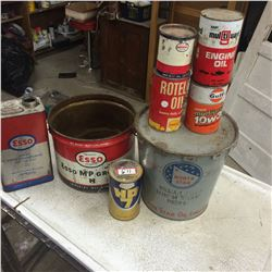 8 Oil and Grease Tins-Northstar,Gulf,Esso Etc