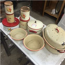 Enamal Ware and Canister Pieces