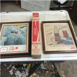 2 Coke Advertising and 1 Sleeve Cups NOS