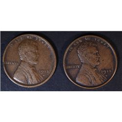 2-VF 1915-S LINCOLN CENTS