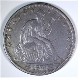 1873 WITH ARROWS SEATED HALF DOLLAR, XF