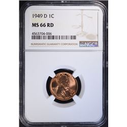 1949-D LINCOLN CENT NGC MS66 RD