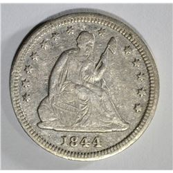 1844 SEATED QUARTER XF/AU