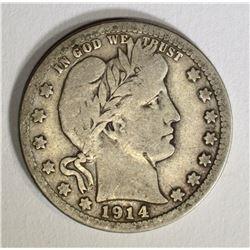 1914-S BARBER QUARTER, VG/F ALMOST FINE RARE