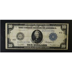 1914 $10.00 FRN CHICAGO, NICE CIRC