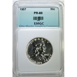 1957 FRANKLIN HALF DOLLAR EMGC SUPERB