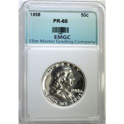 1958 FRANKLIN HALF DOLLAR EMGC SUPERB