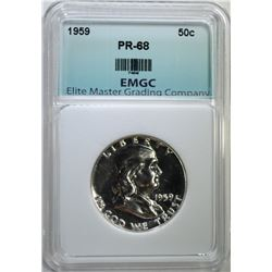1959 FRANKLIN HALF DOLLAR EMGC SUPERB