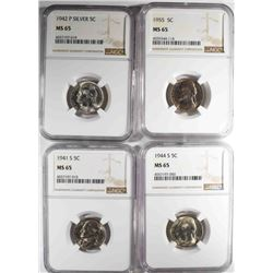 4-NGC GRADED MS-65 JEFFERSON NICKELS