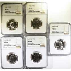 LOT OF (5) WASHINGTON QUARTERS, NGC MS-66
