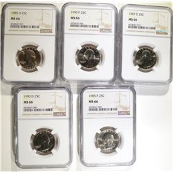 5 WASHINGTON QUARTERS NGC MS-66