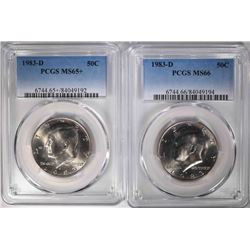 2-1983-D KENNEDY HALVES, PCGS MS-65+ & MS-66