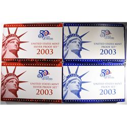(2) 2003 Proof Sets & (2) 2003 Silver Proof Sets