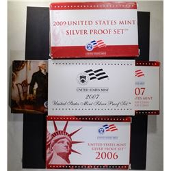 U.S. SILVER PROOF SETS: 2006, 2007 & 2009