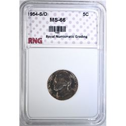 1954-S/D JEFFERSON NICKEL RNG SUPERB GEM