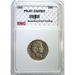 1900 BARBER QUARTER RNG PROOF SUPERB GEM CAMEO