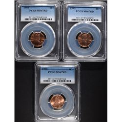 3 1995 LINCOLN CENTS PCGS MS67RD