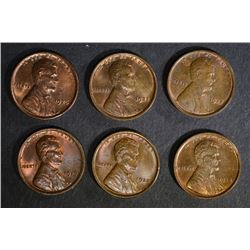 6 LINCOLN CENTS: 1917, 1918, 1919, 1920,