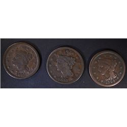 1843, 44 & 45 LARGE CENTS, VG