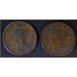 1845 & 47 LARGE CENTS, VF