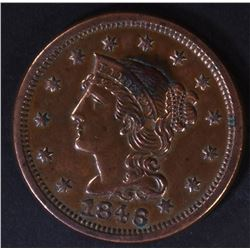 1846 LARGE CENT, AU/BU cleaned
