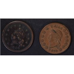 2-PATRIOTIC CIVIL WAR TOKENS