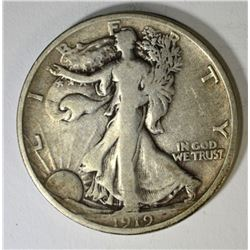 1919-D WALKING LIBERTY HALF DOLLAR, FINE