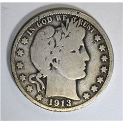 1913 BARBER HALF DOLLAR, G/VG KEY DATE