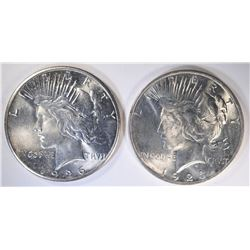 1923 & 26 PEACE DOLLARS, GEM BU