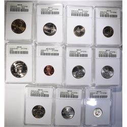 2005-D SMS GRADED COIN SET - 11 COINS