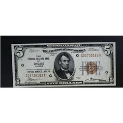 1929 $5 NATL CURRENCY CHICAGO IL
