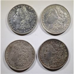 4- MORGAN DOLLARS: 1882-O, 84-O, 87 & 89