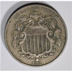 1872 SHIELD NICKEL, XF/AU BETTER DATE