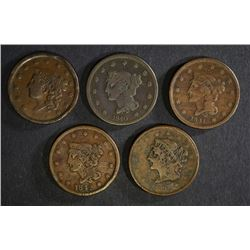 5 LARGE CENTS: 1838 VG, 1839 VG, 1840 VG,