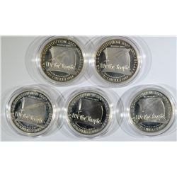 (5) 1987 Constitution Proof Silver Dollars.